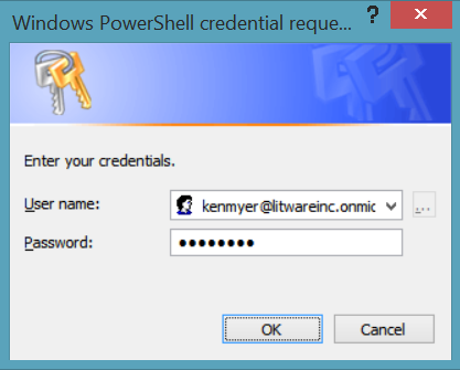 Completed Credentials request dialog box.