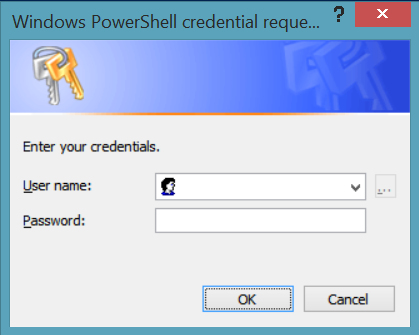 Blank Credentials request dialog box.