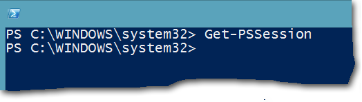 Windows PowerShell console with no remote sessions