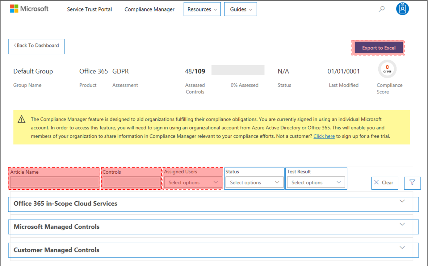 Use Compliance Manager to help meet data protection and regulatory