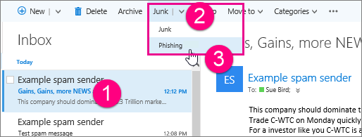 Indicate an email is a phishing scam in Outlook on the web