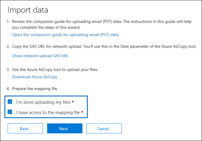 Use network upload to import your organization PST files to Office