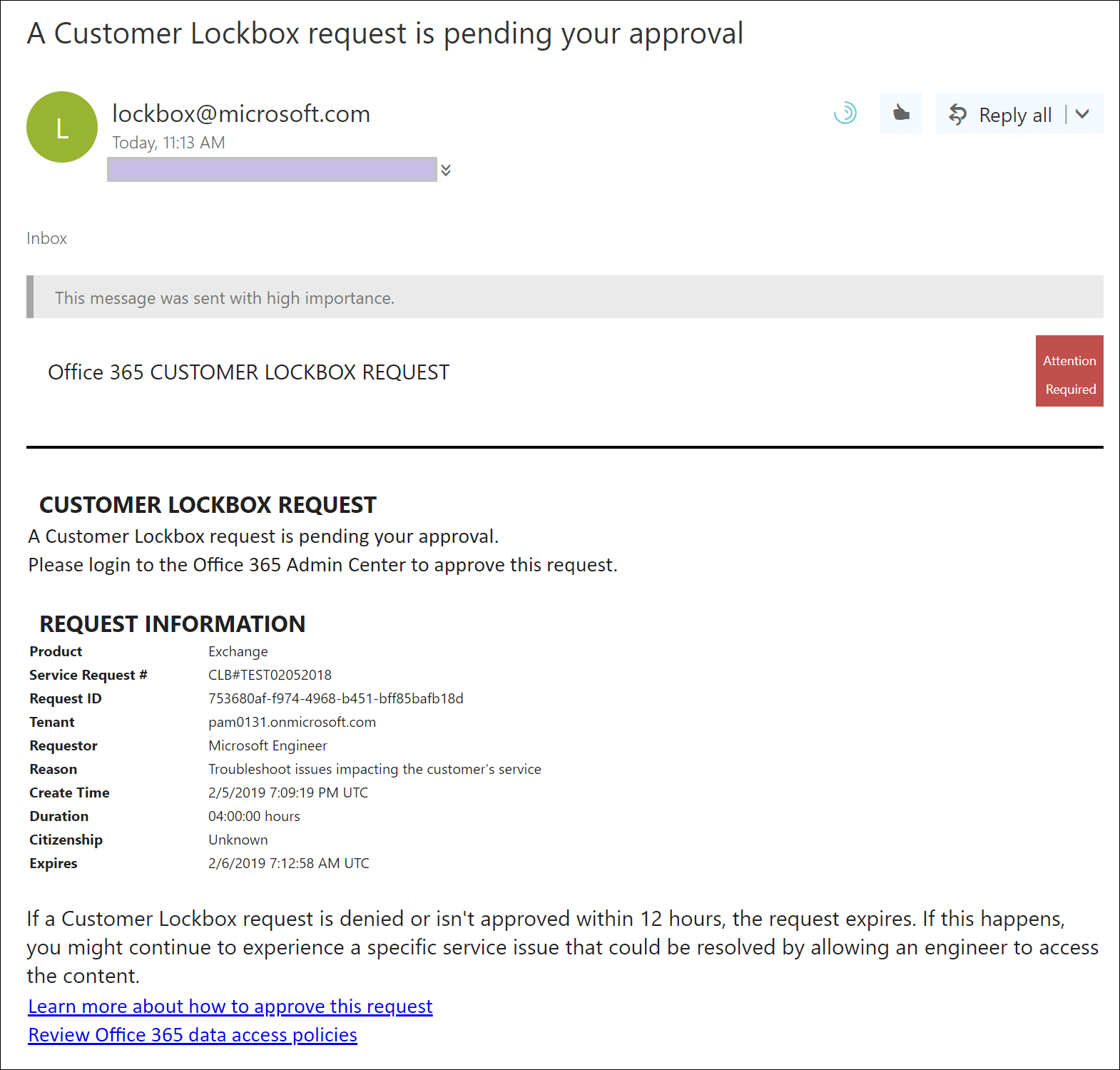 Office 365 Customer Lockbox Requests | Microsoft Docs
