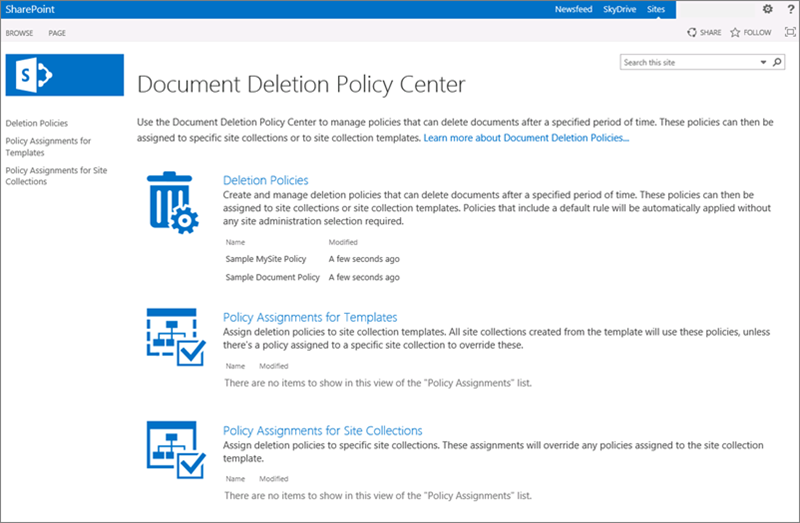 Create a document deletion policy microsoft docs home page of document deletion policy center maxwellsz