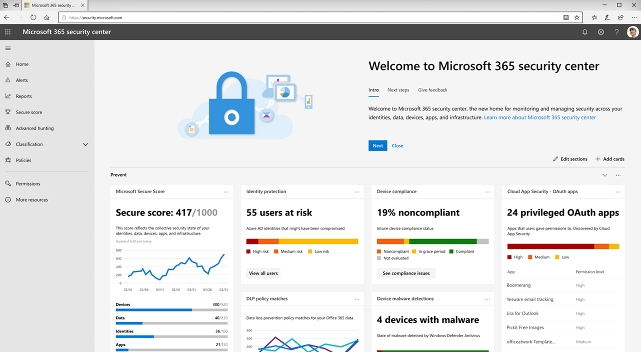 The new Microsoft 365 security center and Microsoft 365