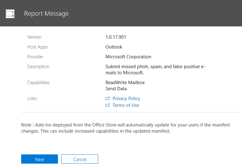 Enable the Report Message add-in | Microsoft Docs