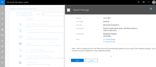 Report Message add-in wizard for Office 365