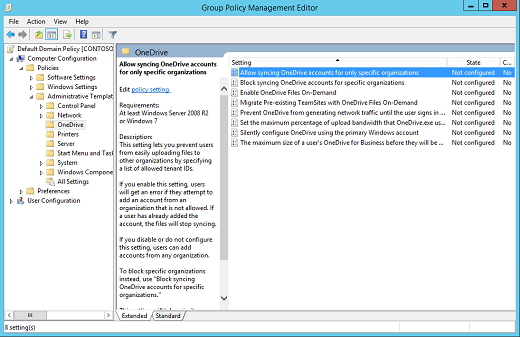 Use Group Policy To Control Onedrive Sync Settings Onedrive Microsoft Docs