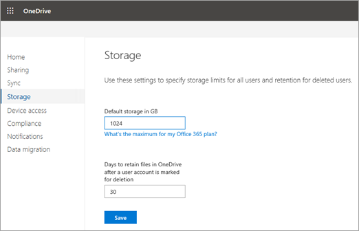 Set the default storage space for OneDrive users | Microsoft