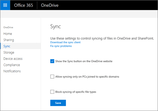 Block syncing of specific file types | Microsoft Docs