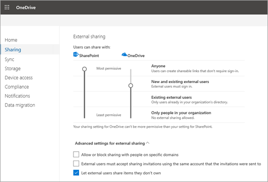 External Sharing in SharePoint and OneDrive