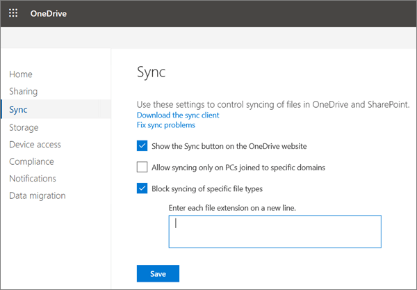The sync page of the onedrive admin center