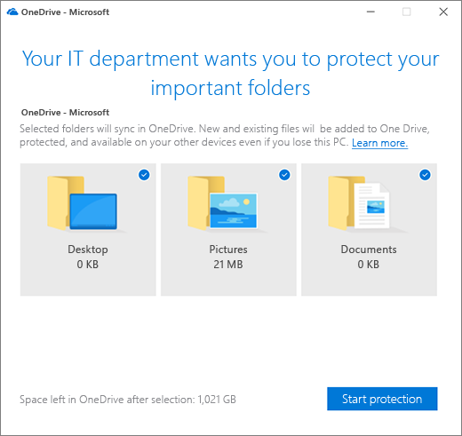 Window prompting users to protect important folders