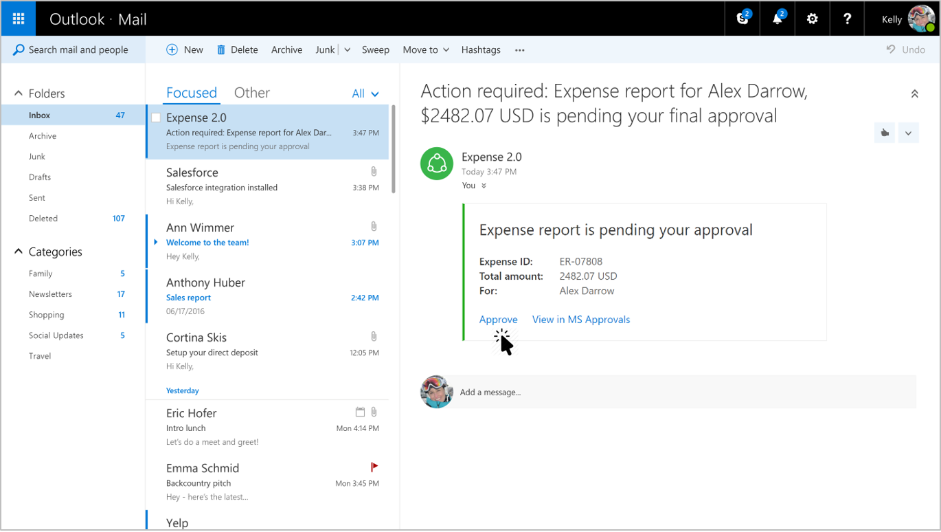 An expense report message card rendered in Outlook