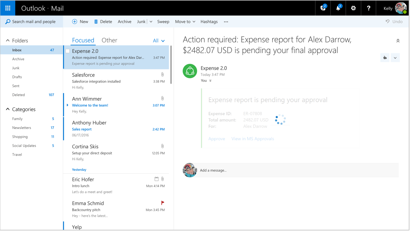 what are actionable messages in office 365 outlook developer