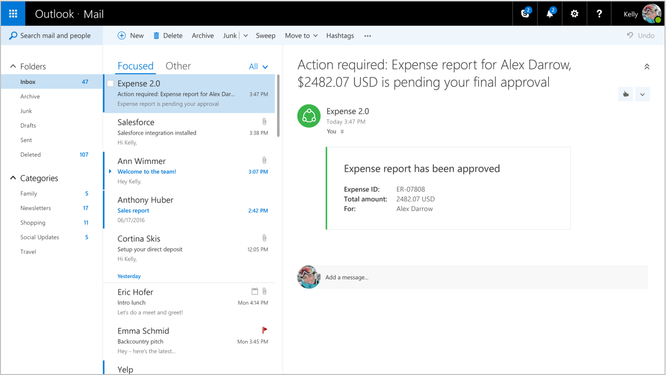The refreshed card rendered in Outlook