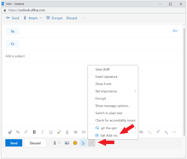 Message compose window in the new Outlook on the web with Get Add-ins option highlighted