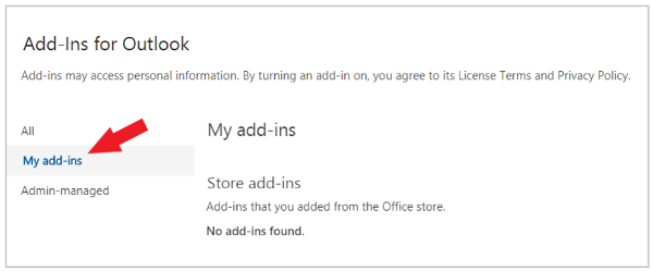 Add-Ins for Outlook dialog box in the new Outlook on the web with My add-ins selected