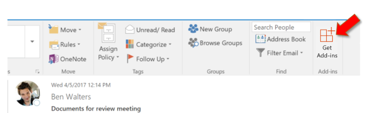 Outlook 2016 ribbon pointing to Store button