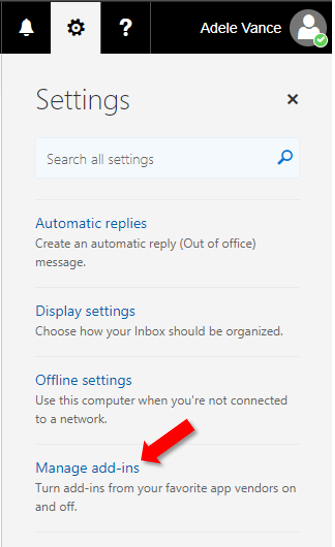 Outlook on the web screenshot pointing to Manage add-ins option