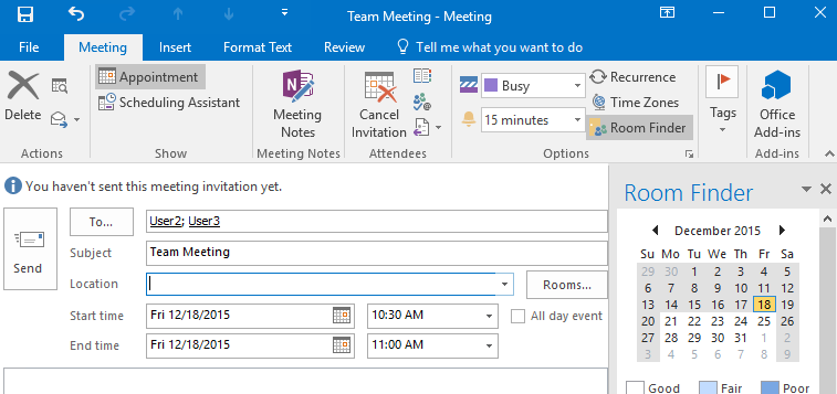 Room Finder feature in Outlook 2016 in the Appointment view.