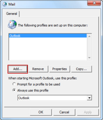 select Add in the Mail dialog box
