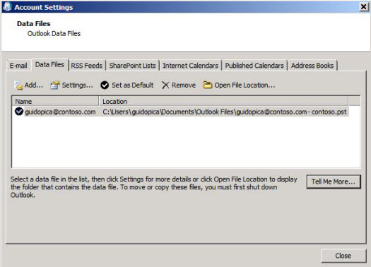 Select the Data Files tab in the Account Settings dialog box