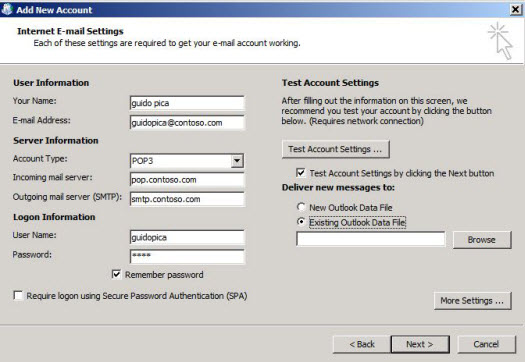 Select Existing Outlook Data File, and then select Browse