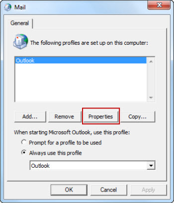 Select your current Outlook profile, and then select Properties