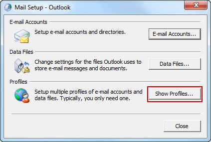 In the Mail Setup - Outlook dialog box, select Show Profiles