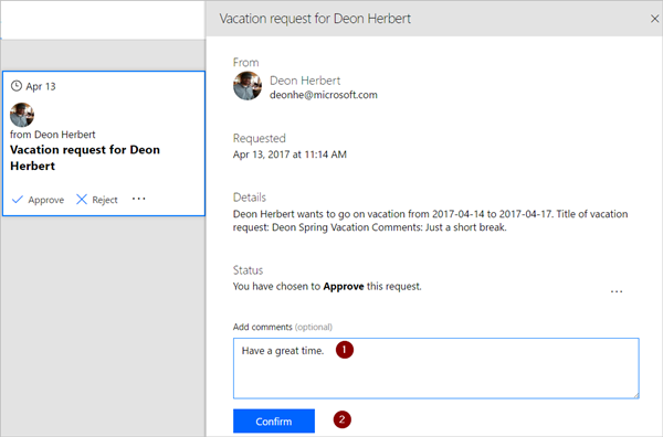 View, approve, or reject approval requests  - Microsoft Flow