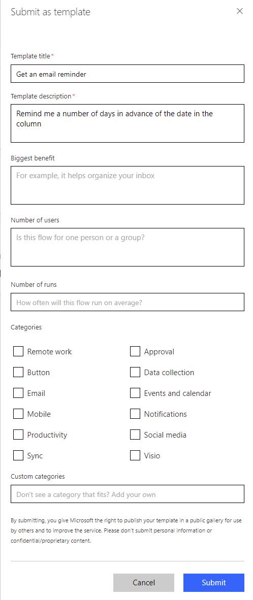 Submit A Flow Template Microsoft Flow Microsoft Docs - Publication schedule template