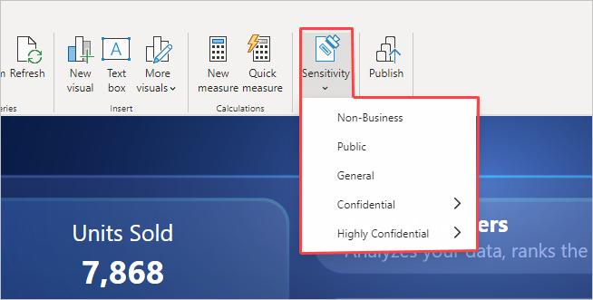 Screenshot of sensitivity label menu in Desktop.