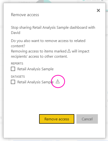 Power BI sharing warning dialog box
