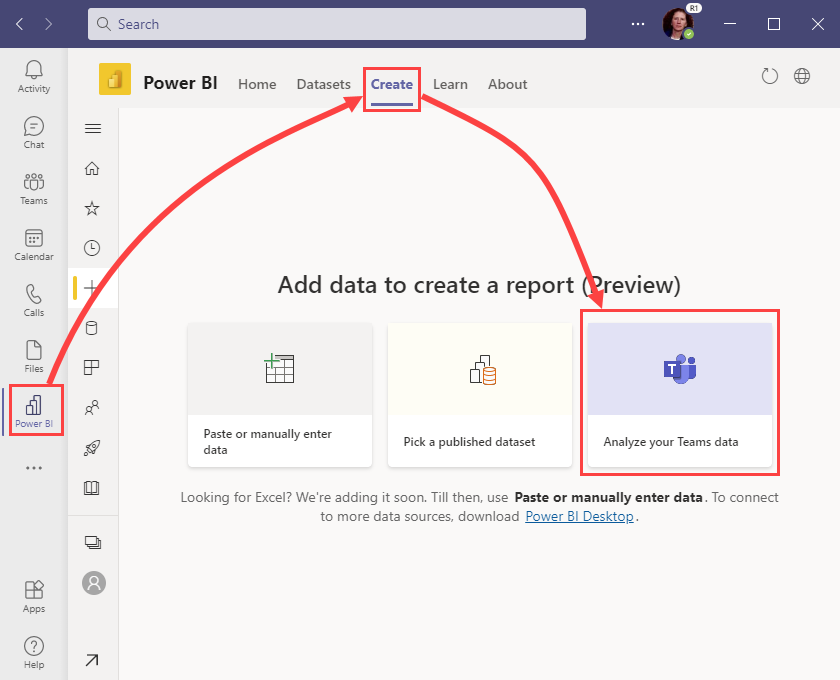 Create a Power BI report to Analyze your Teams activity.