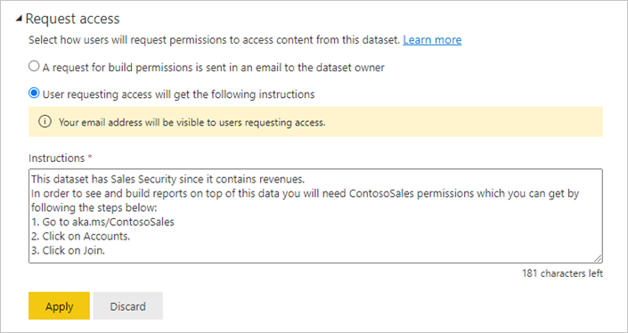 Screenshot of the Request access configuration dialog in the dataset settings.