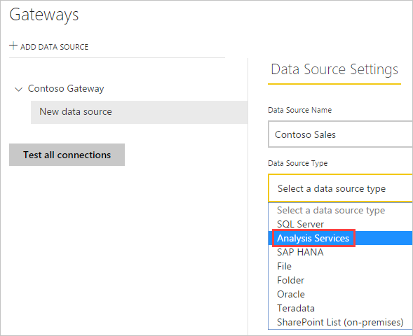 Manage your data source - Analysis Services - Power BI   Microsoft ...
