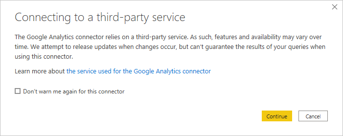 Screenshot of the connection dialog, showing a warning that the connector relies on a Third-Party Service.