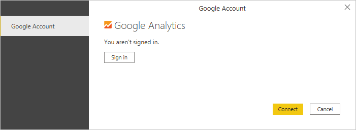 Screenshot of the Google Analytics prompt, showing that you need to sign in to connect.