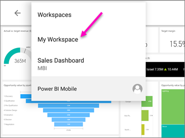 View dashboards and reports in the Power BI mobile apps