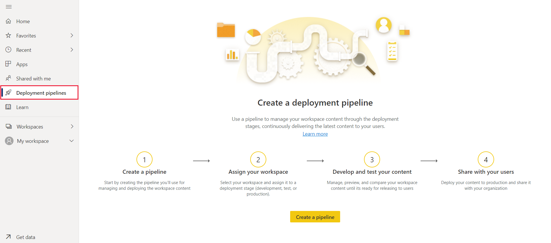 deployment pipelines landing page