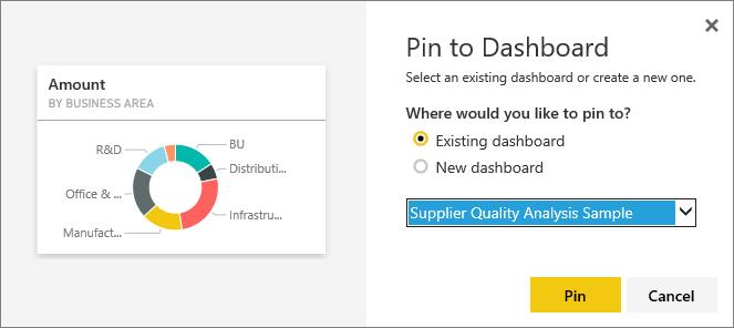 Pin to Dashboard dialog