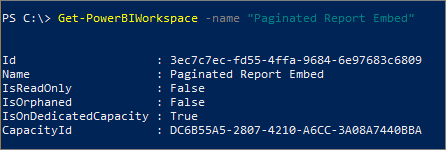 workspaceId from PowerShell