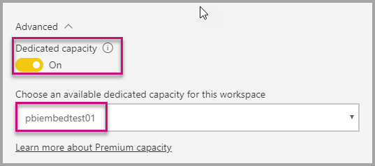 Assign dedicated capacity