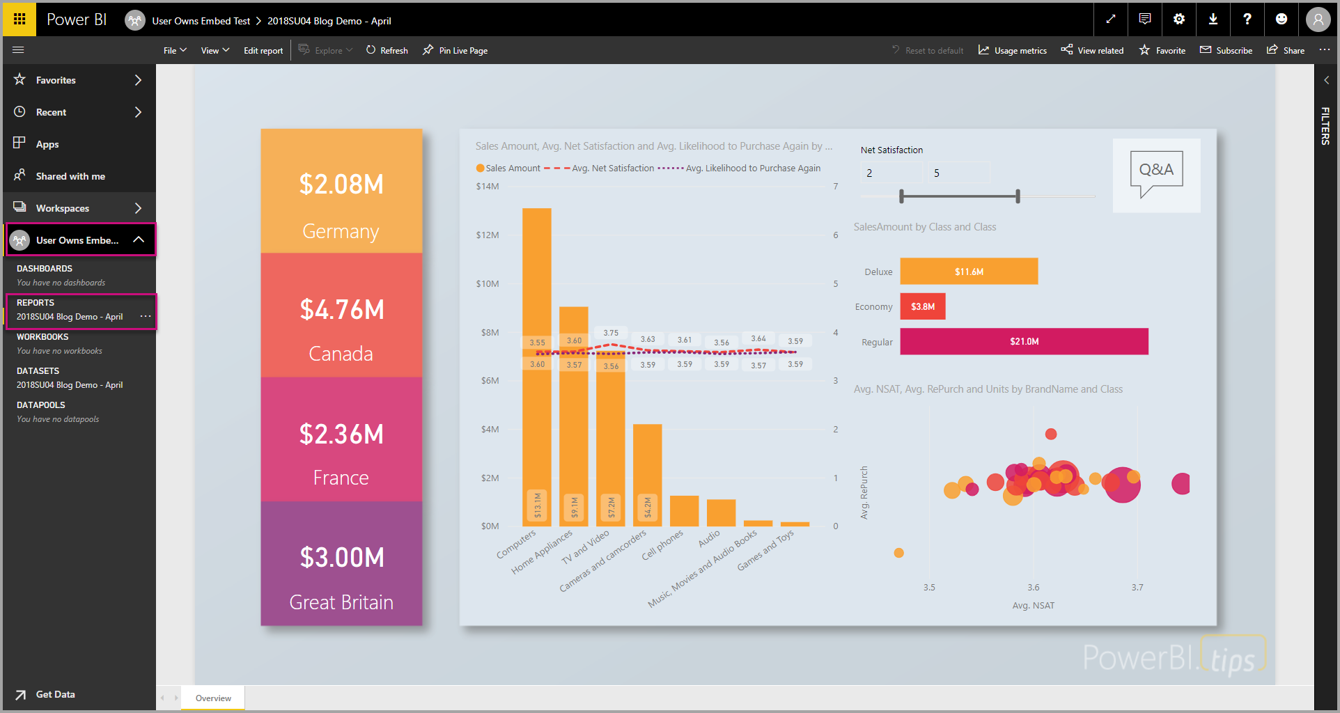 Embedded analytics to embed Power BI content in your application for