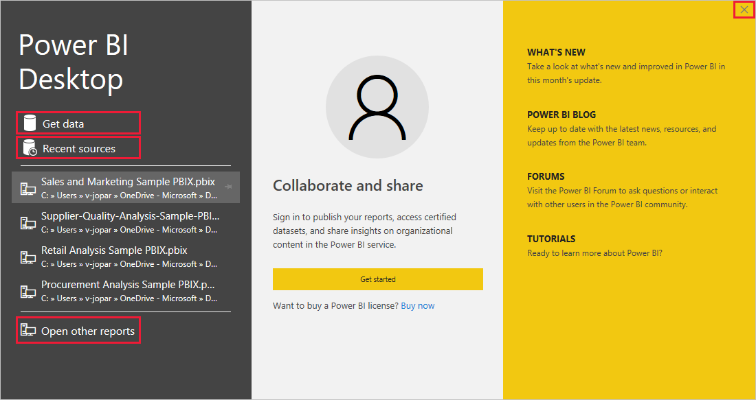 Power BI Desktop Welcome screen