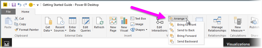 Visualizations power bi microsoft docs by using the options in the arrange button menu you can get the ordering of elements on your report just the way you want it ccuart Choice Image