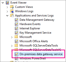 On-prem-data-gateway-event-logs