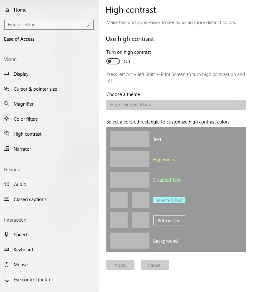 High contrast windows settings