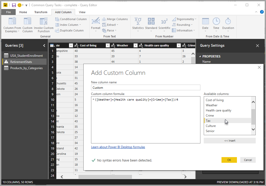 Screenshot shows the Add Custom Column dialog box.